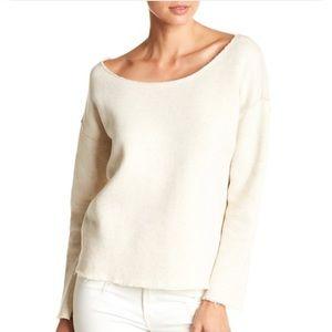 MOTHER raw edge hem heathered knit sweater